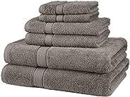 Pinzon - Juego de toallas (algodón egipcio de 725 gramos, 6 unidades), color Blanco, Juego de 6 piezas, Gris,