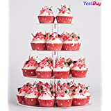 Yestbuy 4 Tier Maypole Round Wedding Party Tree Tower Acrylic Cupcake Display Stand