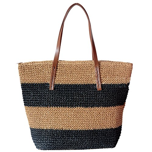 Straw for Shoulder Women Summer Striped Beach Bag Bag Totes Large Black Woven FzdwHd7q