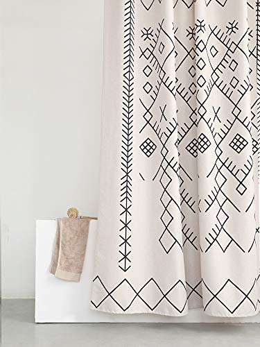 YoKii Boho Moroccan Fabric Shower Curtain, Tribal Beige Geometric Trellis Polyester Bath Curtain Set, Decorative Spa Hotel Heavy Weighted 72-Inch Bathroom Curtains, (72 x 72, Moroccan Inspired) - KEEPS WATER INSIDE -- NEW resin coating technology keeps water slide off the fabric shower curtain and quick drying. No liner required. YOUR STYLE OUTSIDE -- This Moroccan-inspired patterns will taken over you bathroom beauties. Off white base color means that it will work with most color schemes. 180 GSM FABRIC -- Durable but soft feeling fabric with 180 GSM means very heavy duty, which ensures a bathroom curtain last longer and will be more pricey. - shower-curtains, bathroom-linens, bathroom - 51b84zPphxL -