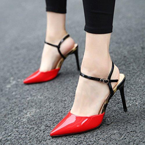 Alto Home Size Punta Mujer Jing Fino Mujer Tacón Moda Hebilla De Red Con Li zapatos Alto Green Zapatos Alto 38 color PAzqqUw5