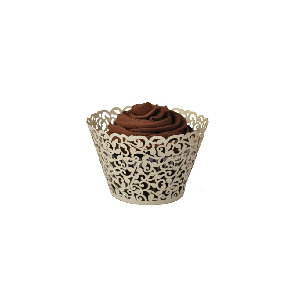 1 X Flower Vine Filigree Lace Cutout Cupcake Wrappers Wraps Liners Wedding Party Cake Decoartion by Generic