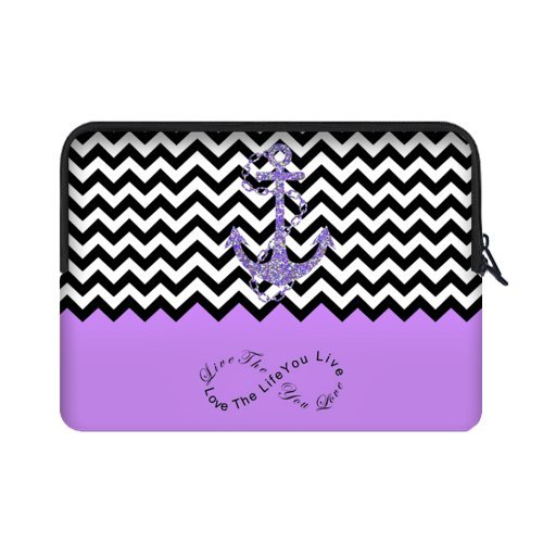 """Specially Designed 17 Inch Purple Block Chevron Zigzag Infinity Anchor Theme Portable Laptop Carrying Case Sleeve Bag for Macbook, Macbook Air/Pro 17"""" (two sides) """"Live the Life You Love, Love the Life You Live"""""""