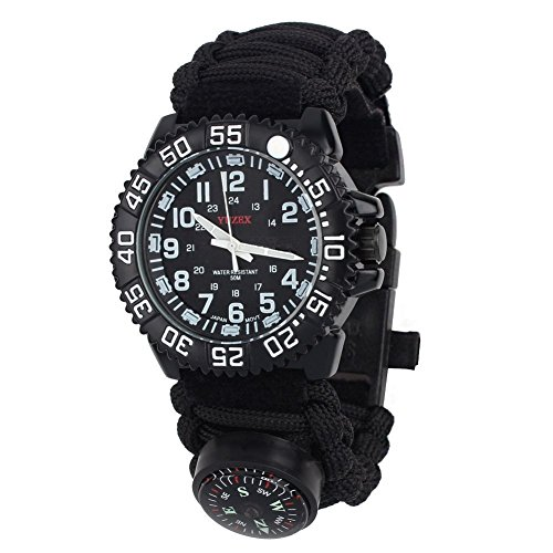 Survival Paracord Watch, Men & Women Emergency Survival Watch with Whistle/Fire Starter/Scraper/Compass and Thermometer, 8 in 1 Multifunctional Outdoor Gear (black)