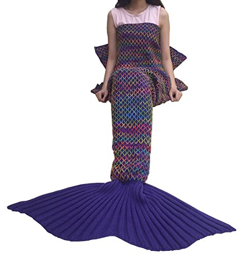 URSKY Mermaid Blanket Crochet and Knitted, Mermaid Tail Blanket Sofa Throw Quilt Sleeping Bag For Adult, Teens, Child Christmas Gift (71