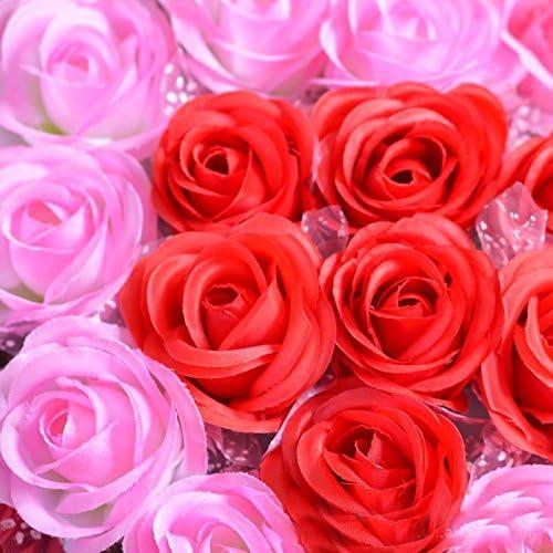 Kentop Fleurs Artificielles Rose Faux Fleurs Forme de Coeur Fleurs D/écoration de Voiture Mariage Plastique