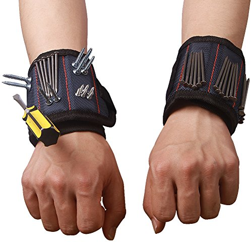 Magnetic Wristband with Strong Magnets for Holding Screws Nails Drill Bits Best Tool Gift for DIY Handyman Men Women CTD02 (1 - For Gifts Men