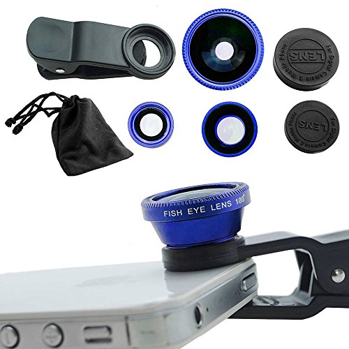 (Case Safety 1 x 3in1 Lens Photo Clip Kit Set for Mobile Phone Tablet PC , Blue)