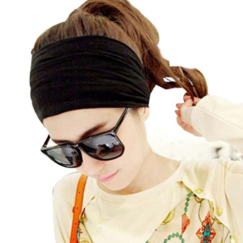 [Susenstone®Vintage Wide Ribbon Headband Hair Band Bandanas Scarf (Black)] (Adult Vintage Witch Costumes)