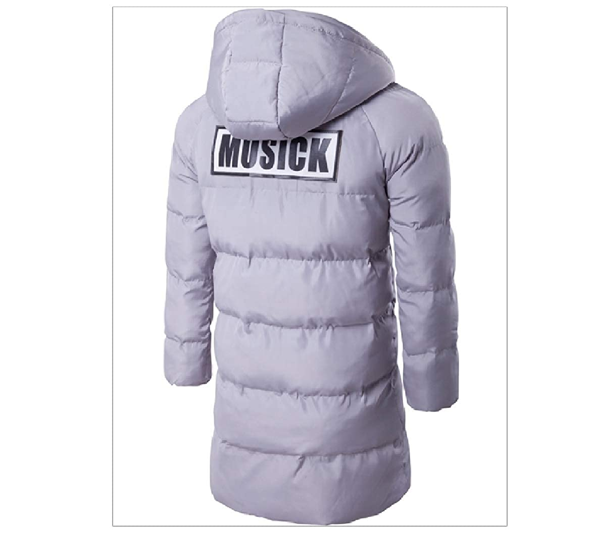 SportsX Mens Thicken Solid Md-Long Hooded Cotton Down Coat