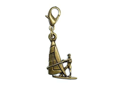 miniblings Surfer Charm Pulsera de Bronce Windsurf Tabla de Surf
