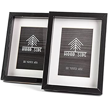 amazon com wooden picture frames black 6x8 2 pack solid wood