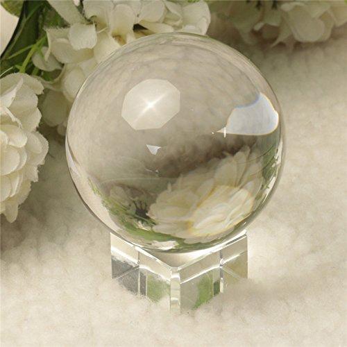 Gods Kingdom Quartz Pure Clair Magic Crystal Boule de guérison en Verre Spéculum Slickball Sphère 60mm avec Support