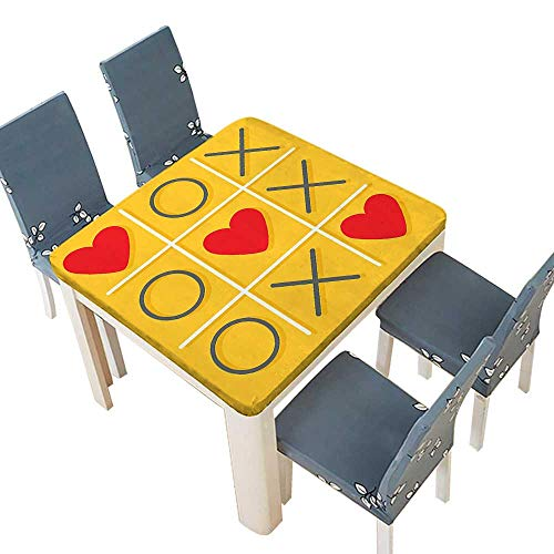 PINAFORE Polyesters Tablecloth Tic Tac Toe Game with