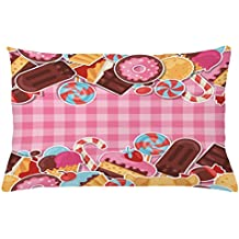 Ice Cream Throw Pillow Cushion Cover by Ambesonne, Candy Cookie Sugar Lollipop Cake Ice Cream Girls Design, Decorative Accent Pillow Case, 26 W X 16 L Inches, Baby Pink Chestnut Brown Caramel