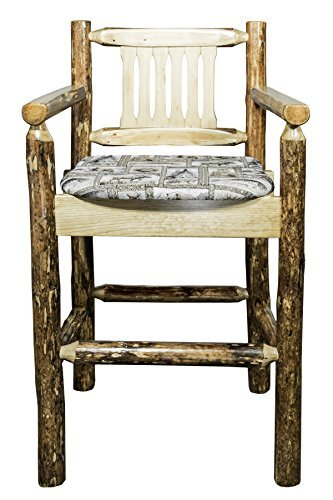 Montana Woodworks MWGCBSWCASWILD Glacier Country Collection Captain's Barstool with Upholstered Seat, Wildlife Pattern
