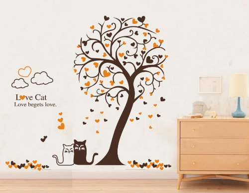 """X Large Contemporary Tall Tree Love Cats Hearts Clouds Approx 60"""" Inches or 5 Feet Wall Sticker Decal"""
