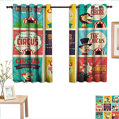 (Circus Drapes for Living Room Collection of Old Circus Icons Carnival Magicians Old Fashioned Nostalgic Festive 55