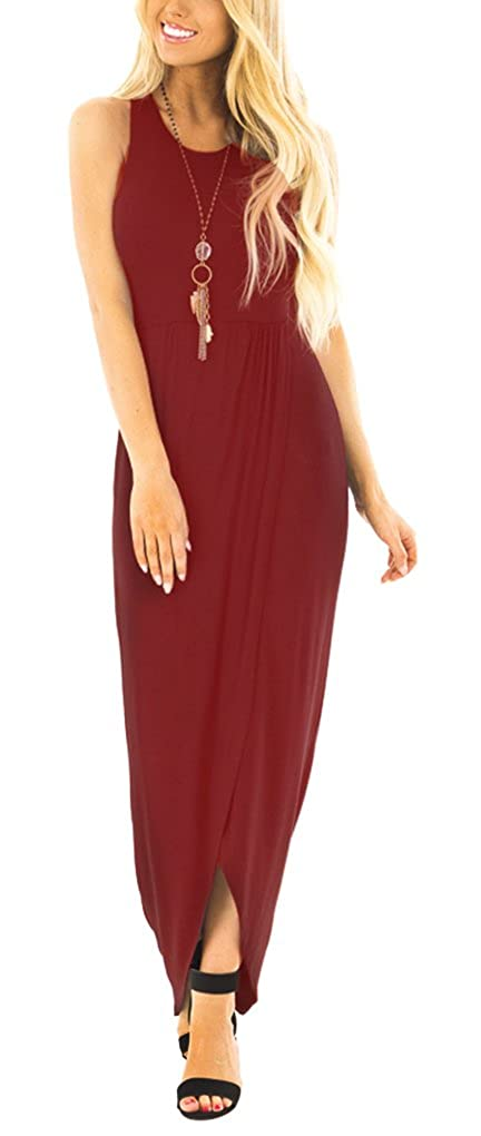 Wine Red Lunaya Womens Sleeveless Hem Slit Ruched High Low Solid Simple Casual Maxi Dress