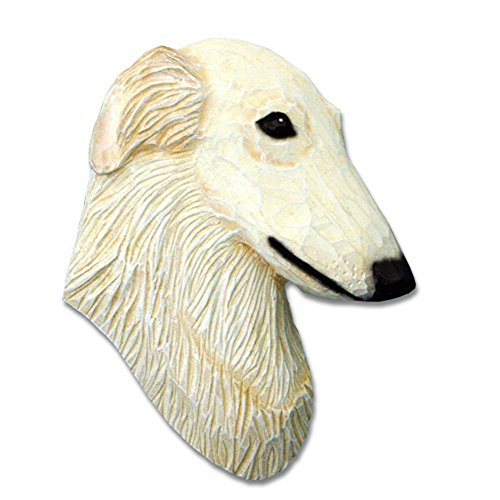 Borzoi Figurine (Borzoi Head Plaque Figurine Cream)