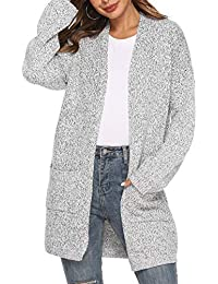 Women s Knit Cardigan Sweater Long Sleeve Open Front Cardigans Loose Sweater  with Pockets 6ecbfc380