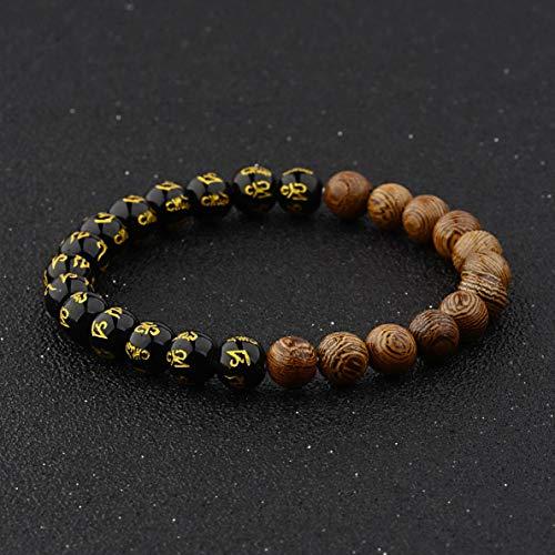 Mikash 2X Fashion Wooden Beads Crown Energy Yoga Reiki Women Mens Couple Bracelets | Model BRCLT - 38762 | ()