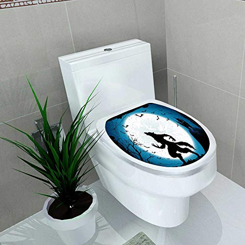 Auraise-home Waterproof self-Adhesive Dark Halloween with Moon on Blue Sky Castle and Werewolf Spiders and Flying Bats Toilet Seat Vinyl Art Stickers W15 x L17]()