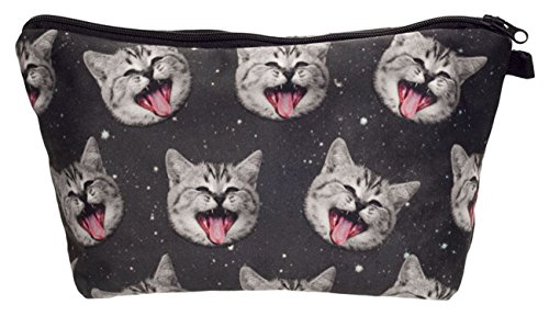 Kukubird Diversión Nueva Imagen Animal Patrón Grabado Neceser Con Bolsa De Polvo De Kukubird Smile Cat