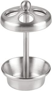 """iDesign Neo Metal Toothbrush Holder Stand for Bathroom, Vanity Countertops in Master, Guest, and Kids' Bathrooms, 2.75"""" x 2.75"""" x 5"""" - Brushed Stainless Steel"""