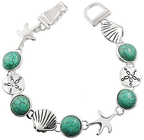 Circle Link Magnetic Clasp Bracelet - Silver Tone Magnetic Clasp Starfish, Sand Dollars, Seashells w/ Faux Turquoise Stones Charm Bracelet