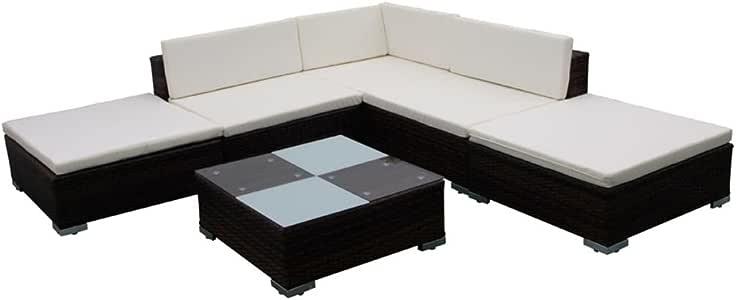 vidaXL Conjunto de Muebles de Jardín 15 Piezas Ratán Sintético Marrón y Blanco: Amazon.es: Jardín