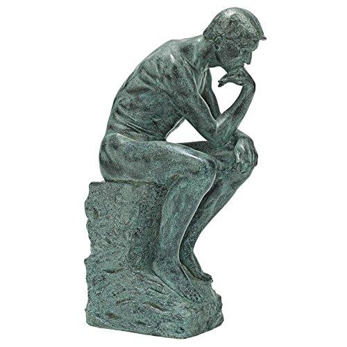 Design Toscano Rodin's Thinker Man Statue, Medium, 10 Inch, Polyresin, Bronze Verdigris Finish