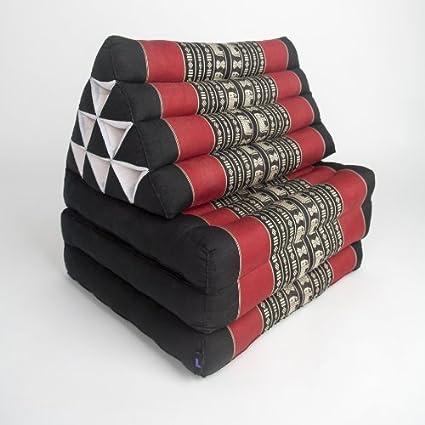 Leewadee - Cojn tailands Convertible en Asiento y Cama (Plegable, 3 Partes, 170 x 53 cm), Color Negro y Rojo