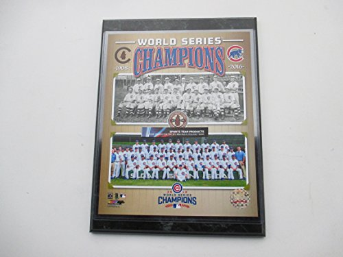 CHICAGO CUBS 2016 AND 1908 WORLD SERIES CHAMPIONS PHOTO MOUNTED ON A 9X12 BLACK MARBLE PLAQUE