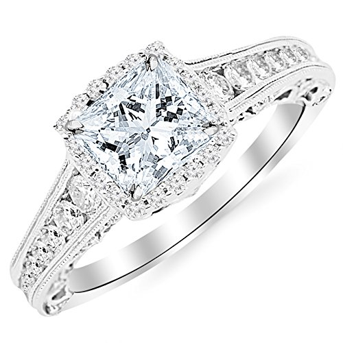 (1.75 Carat 14K White Gold Vintage Halo Style Channel Set Round Brilliant Diamond Engagement Ring Milgrain with a 1 Carat Moissanite)