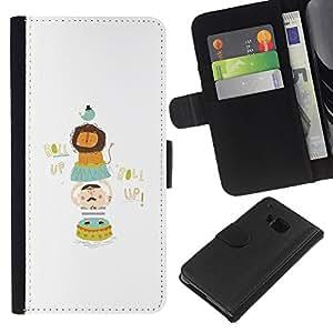 All Phone Most Case / Oferta Especial Cáscara Funda de cuero Monedero Cubierta de proteccion Caso / Wallet Case for HTC One M7 // Zoo Lion Funny Minimalist Bird