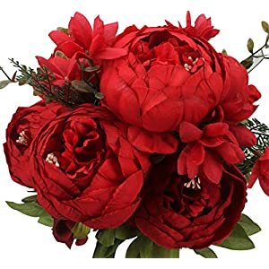 Duovlo Springs Flowers Artificial Silk Peony Bouquets Wedding Home Decoration,Pack of 1 (Spring Red) 19
