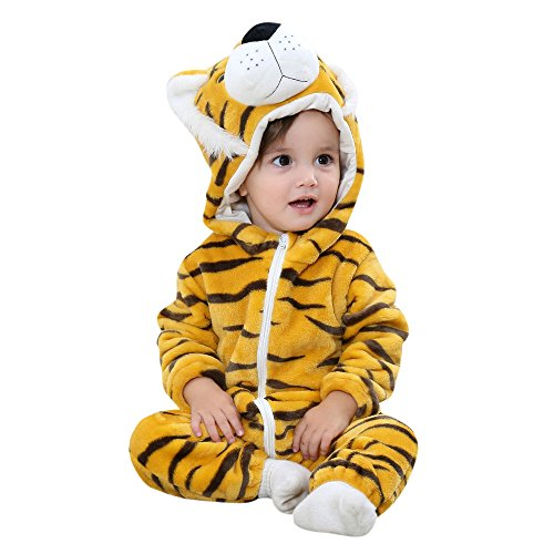 Birdfly Unisex Baby Cute Flannel Romper Zip Up Hoodie Jumpsuit Toddler Animal Costume Winter Cozy Outfits (12M, Tiger)