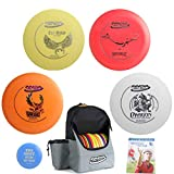 Innova Disc Golf Complete Gift Set Bundle - Discover Backpack Bag, 2 Drivers (One Floater), Mid-Range, Putter + Mini Marker Disc & Rules (7 Items) (Bag: Red/Gray)