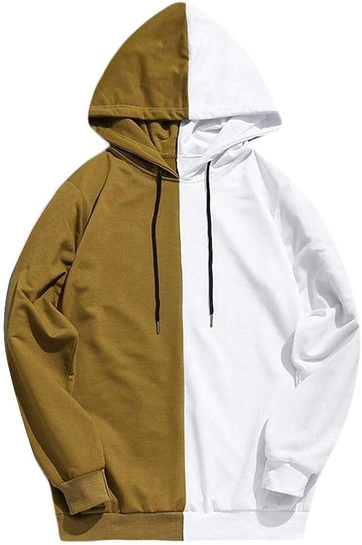 Etecredpow Mens Long Sleeves Wicking Color Block Hoodies Shirt Casual Print
