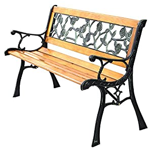 Giantex Patio Park Garden Bench Porch Chair Outdoor Deck Cast Iron Hardwood Rose