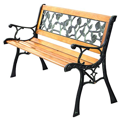 Giantex Patio Park Garden Bench Porch Chair Outdoor Deck Cast Iron Hardwood Rose (Cast Iron Outdoor Bench)
