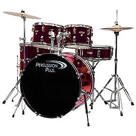 Percussion Plus PP4100MWR 5-Piece Drum Set, Metallic Wine Red 21