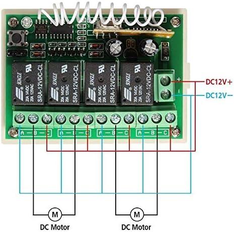 R/écepteur Universel 4 Canaux avec /Émetteur T/él/écommande 433 Mhz R/écepteur Radio Auto-apprentissage pour Lumi/ères Lampes Portail Automatique DC 12V 10A