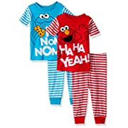 Sesame Street Baby Boys Elmo 4-Piece Cotton Pajama Set, Elmo and Cookie Monster Stripes, 12M