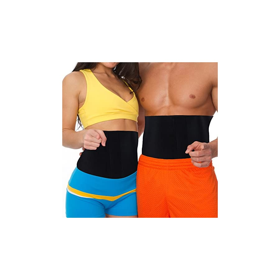 MakExpress Waist Trimmer Ab Belt Tummy Tuck Belly Burner Sauna Fit Trim Firm Curve Contour Weight Loss Abdominal Tone Muscle Toning Slim Easy Strong Exercise for Women & Men Home Gym by