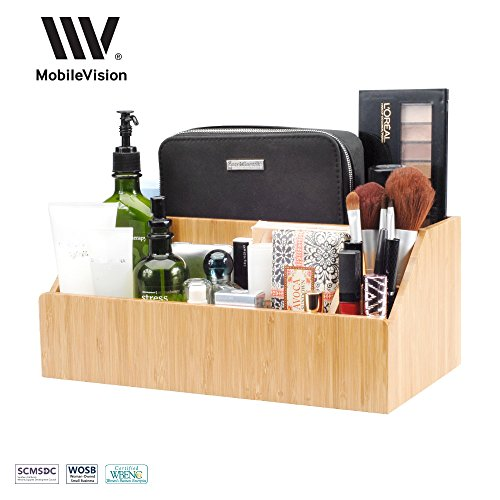 51b89pFnLHL - MobileVision Bamboo Make Up Organizer & Cosmetic Holder, Storage on Vanity Counter or Bathroom, Multiple Compartments