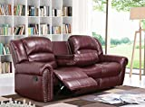 Meridian Furniture Nailhead Reclining Sofa, Burgundy