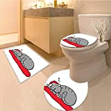 MikiDa Bathroom Household Rug Sleeping Cat with Santa Hat and Whiskers on Pillow Winter Night Non Slip Comfortable Snd Soft