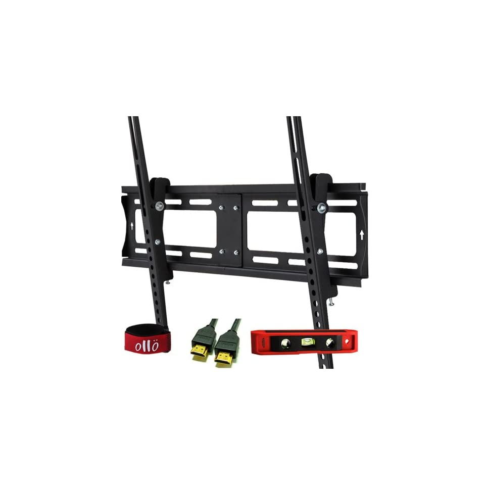 OLLO MOUNTS 32 55 inches Tilt / Tilting Low Profile Universal TV Wall Mount Bracket * 1.4V HDMI / ETHERNET CABLE * 6 TORPEDO LEVEL * VELCRO CABLE TIE * LCD, LED, Plasma (TH64037 3)